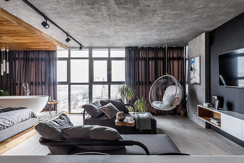 woonkamer ideeën betonnen plafond