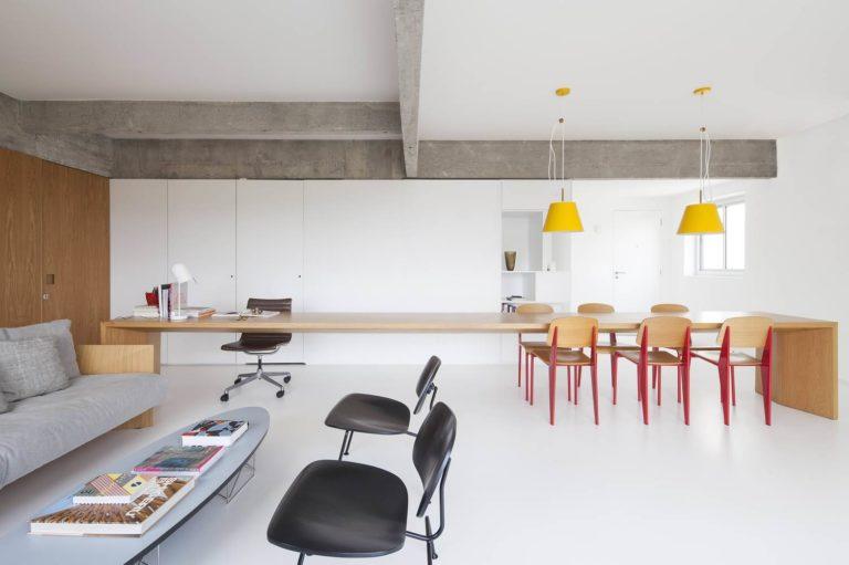 woonkamer ideeën eettafel en bureau in een