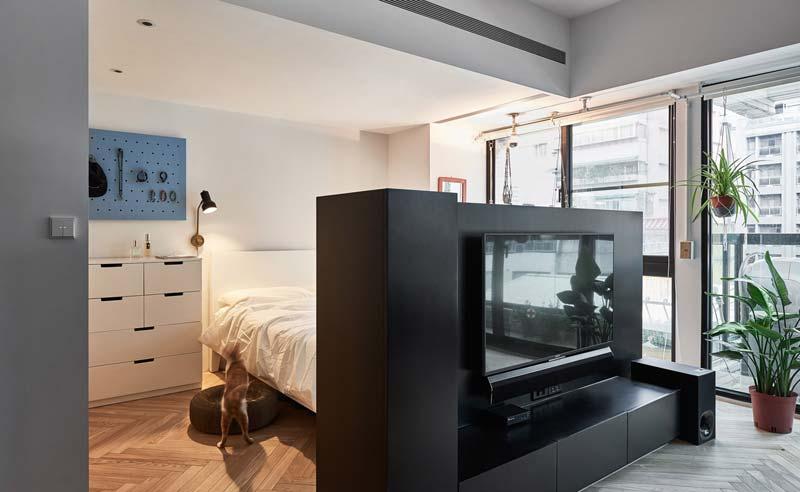 woonkamer ideeen tv meubel scheidingswand tussen slaapkamer en woonkamer