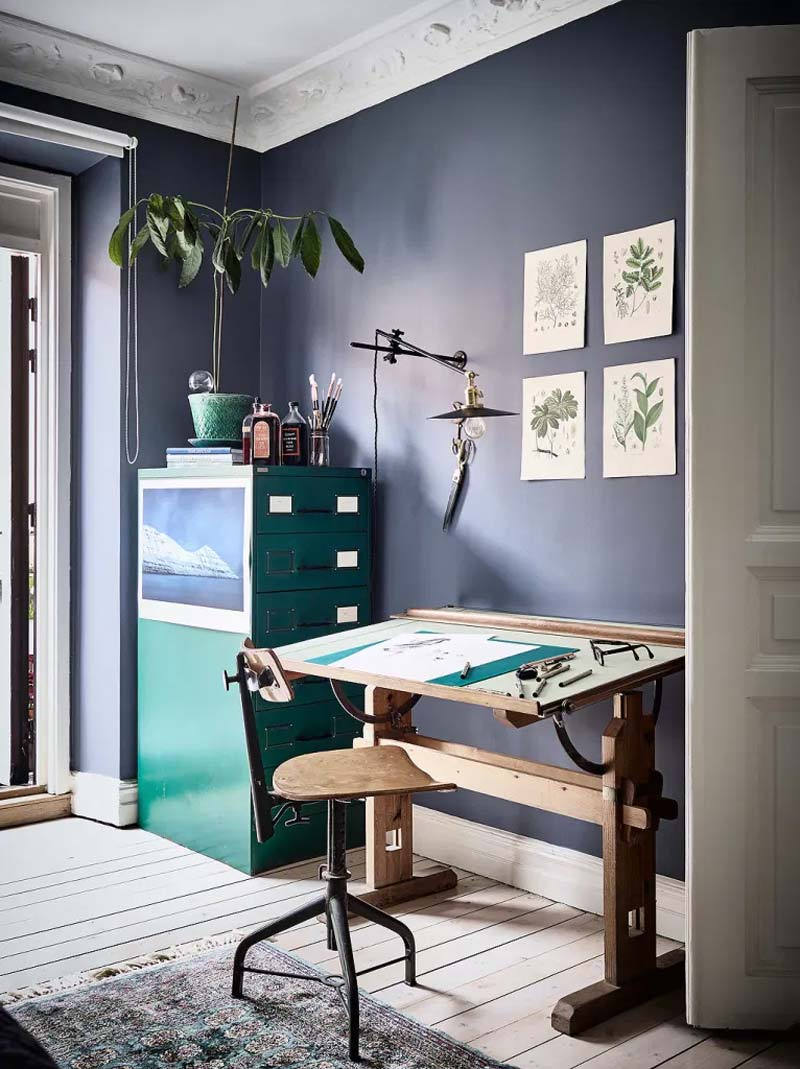 woontrends 2021 blauwe muur werkplek