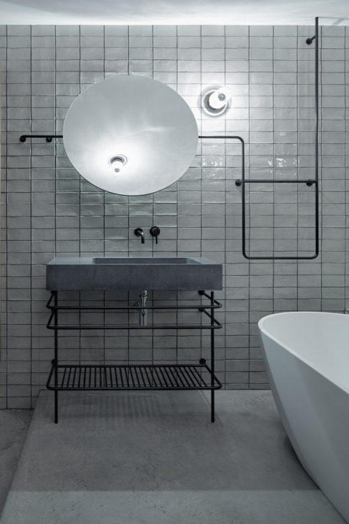 zwart staal badkamers voorbeelden industrieel