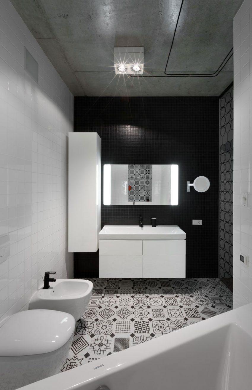 Badkamertegels Zwart Wit.Moderne Zwart Wit Badkamer Met Een Mooie Tegel Mix Huis