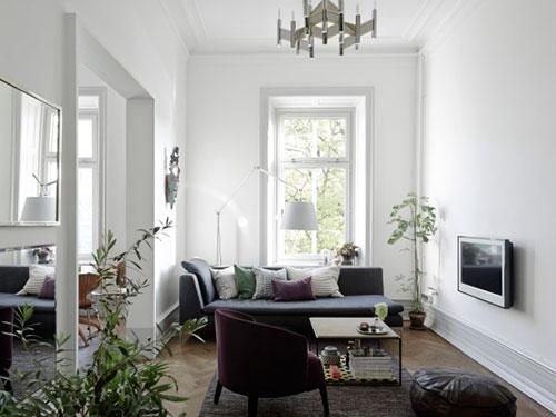 Meer Zweedse Inspiratie : Zweedse inspiratie voor een smalle woonkamer