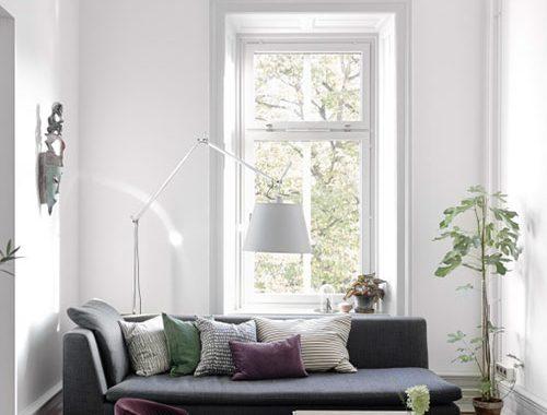 Zweedse inspiratie voor een smalle woonkamer
