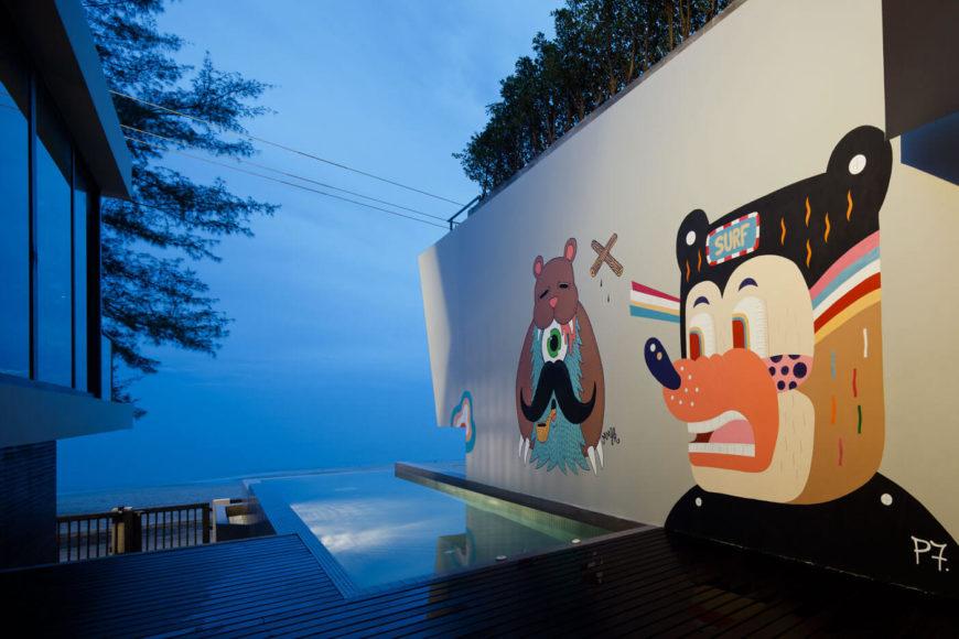 zwembad in tuin muurschildering